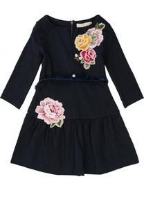 Платье-миди с вышивками и поясом из велюра Monnalisa