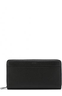 Кожаное портмоне на молнии с отделениями для кредитных карт и монет BOSS