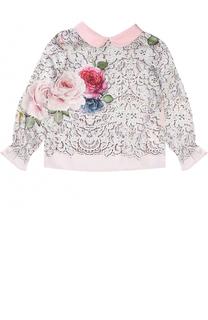 Блуза с принтом и декоративным воротником Monnalisa