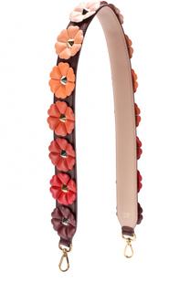 Кожаный ремень для сумки с цветочной аппликацией Fendi