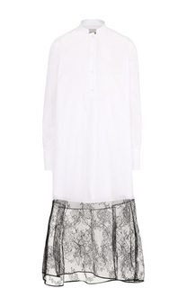 Удлиненная блуза с кружевной отделкой Valentino