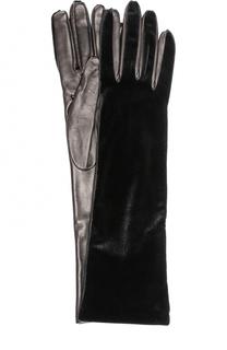 Удлиненные кожаные перчатки с бархатной отделкой Armani Collezioni