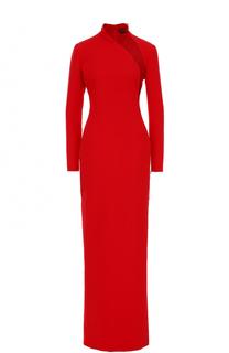 Шелковое платье-макси с полупрозрачной вставкой Tom Ford