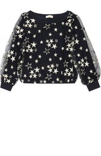 Блуза из вискозы с металлизированной отделкой в виде звезд Monnalisa