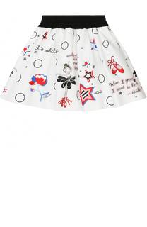 Хлопковая юбка с принтом и широким поясом Simonetta