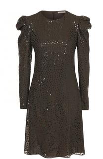 Шелковое платье-миди с декоративной отделкой Nina Ricci