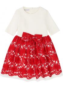 Платье из смеси вискозы и хлопка с вышивкой и бантом I Pinco Pallino