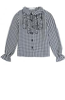Блуза из вискозы в клетку с оборками I Pinco Pallino