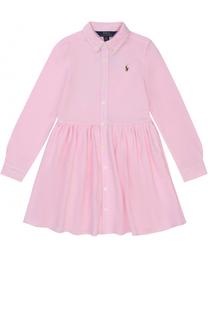 Хлопковое мини-платье с длинными рукавами и логотипом бренда Polo Ralph Lauren