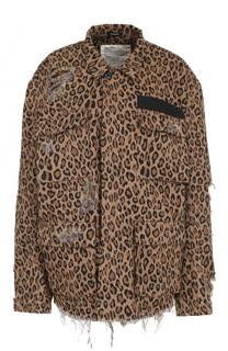 Куртка с потертостями и леопардовым принтом R13