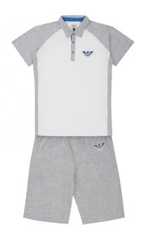 Хлопковый комплект из футболки и шорт Giorgio Armani