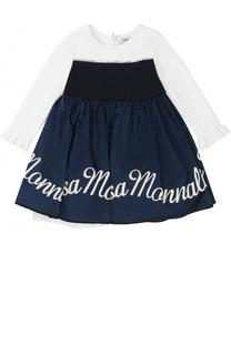 Комбинированное платье с многослойной юбкой и вышивкой Monnalisa