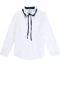 Хлопковая блуза с бантом и декоративным воротником Aletta
