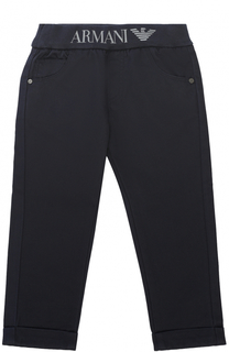 Хлопковые брюки прямого кроя с отворотами и эластичным поясом Giorgio Armani