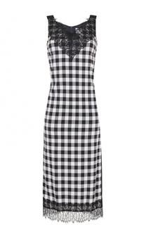 Приталенное платье-миди с кружевной отделкой BOSS