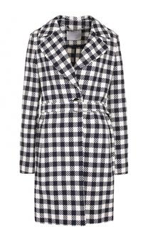 Однобортное приталенное пальто с поясом BOSS