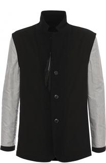 Шерстяной однобортный пиджак с контрастными рукавами Ann Demeulemeester
