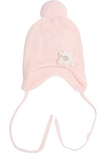 Шерстяная  шапка с помпоном и цветочной аппликацией Il Trenino