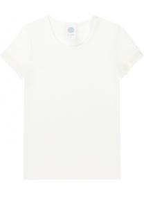 Хлопковая футболка с кружевной отделкой Sanetta