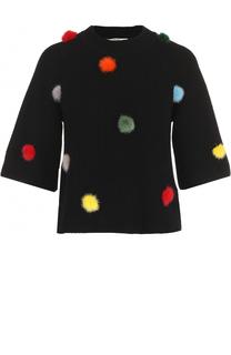 Кашемировый пуловер с отделкой из меха норки Fendi