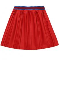 Плиссированная юбка из смеси шерсти и кашемира с контрастным поясом Gucci