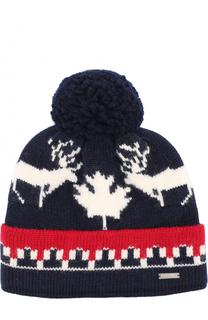Вязаная шапка из шерсти с принтом и помпоном Dsquared2