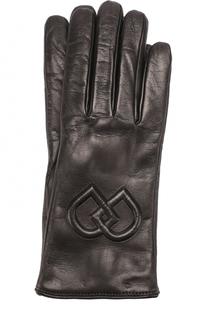 Кожаные перчатки с логотипом бренда Dsquared2