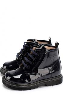 Ботинки из лаковой кожи на шнуровке с молниями Il Gufo