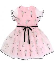 Многослойное платье с вышивкой и контрастным поясом Simonetta