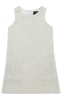 Мини-платье А-силуэта с накладными карманами и аппликациями Monnalisa