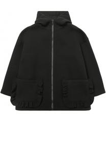 Укороченное пальто из смеси шерсти и вискозы с оборками Simonetta