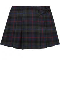 Шерстяная мини-юбка с принтом и складками Aletta