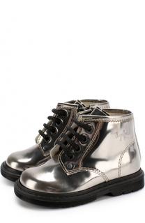 Ботинки из металлизированной кожи на шнуровке с молниями Il Gufo