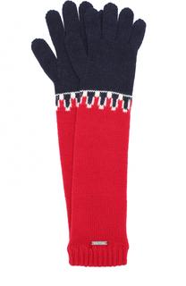 Удлиненные вязаные перчатки с принтом Dsquared2