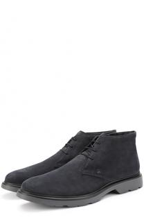 Замшевые ботинки на шнуровке Hogan