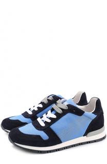 Текстильные кроссовки с замшевой отделкой Giorgio Armani