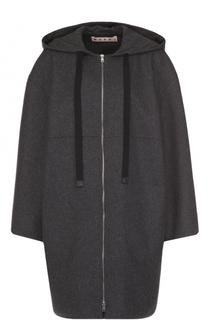 Шерстяное пальто на молнии с капюшоном Marni