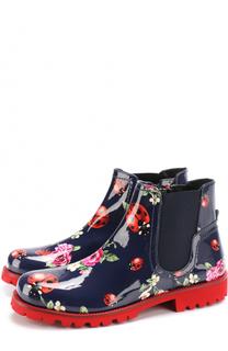 Ботинки из лаковой кожи с принтом и эластичной вставкой Dolce & Gabbana