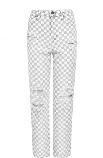 Укороченные джинсы в контрастную клетку Denim X Alexander Wang