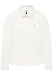 Льняная рубашка с логотипом бренда Giorgio Armani