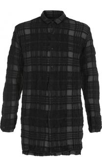 Удлиненная рубашка в клетку из смеси шерсти и хлопка Transit