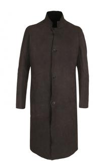 Кожаное пальто на пуговицах с воротником-стойкой Isaac Sellam
