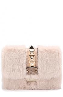 Сумка Glam Lock small с меховой отделкой Valentino
