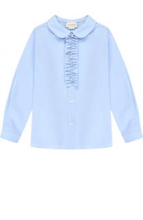 Хлопковая блуза с рюшем Gucci