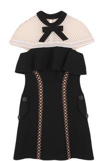 Приталенное мини-платье с кружевной отделкой self-portrait