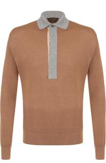 Поло с длинными рукавами из смеси кашемира и шелка Zegna Couture