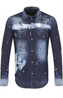 Джинсовая рубашка на кнопках с принтом Dsquared2