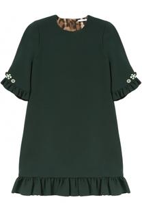 Мини-платье прямого кроя с оборками и декоративными пуговицами Dolce & Gabbana