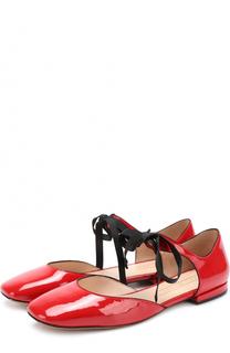 Лаковые балетки на шнуровке Marc Jacobs