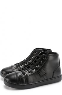 Кожаные кеды на шнуровке с молнией Dolce & Gabbana